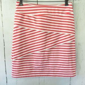 J McLaughlin Skirt Coral Stripe Tiered Stretch